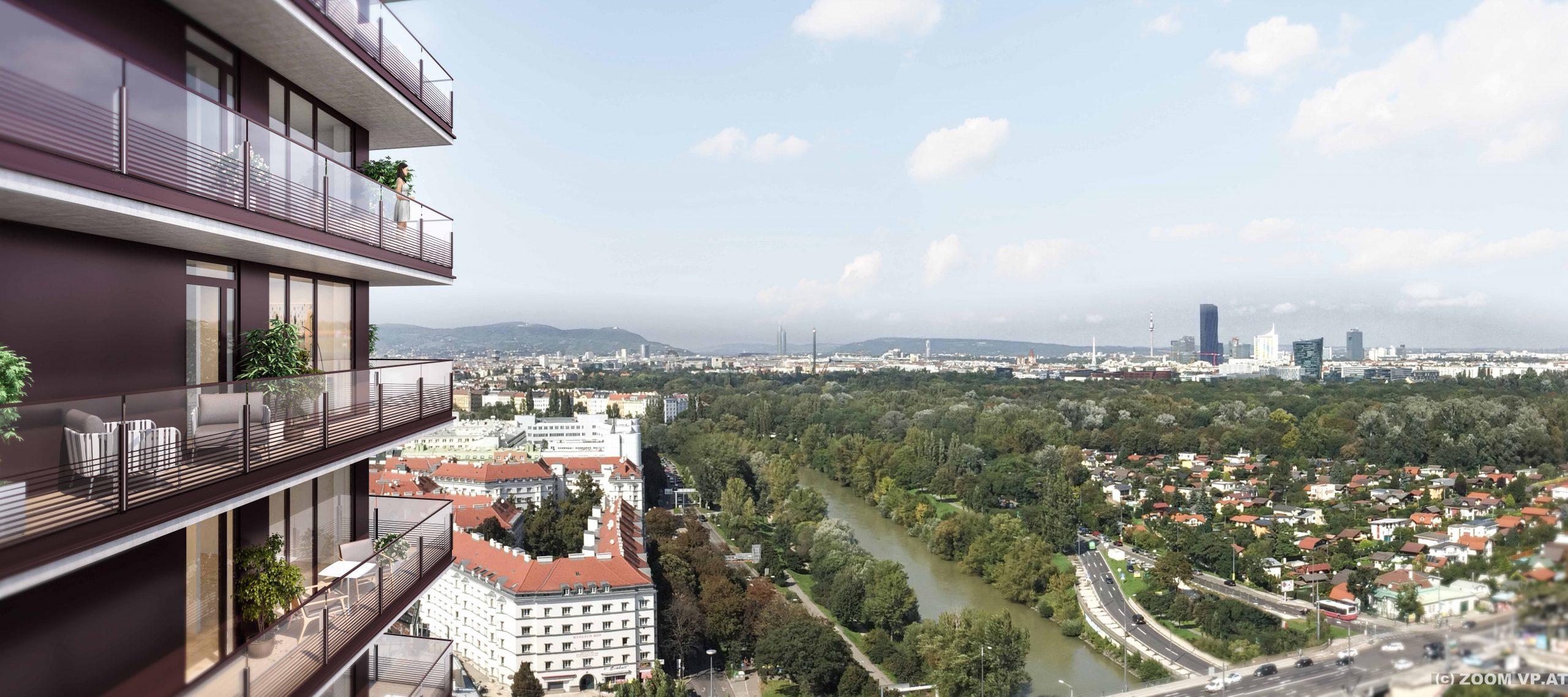 """Spektakulär: Auf 73.000 Quadratmeter Nutzfläche sollen ab Mitte 2021 rund 500 Wohnungen sowie 12.000 Quadratmeter Büroflächen in den """"TrIIIple Tower"""" zur Verfügung stehen (Credit: ZOOM VP)"""