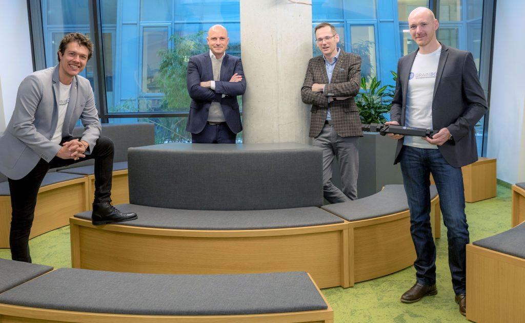 Sechsstellige Fördersumme: Slaven Stekovic, Martin Mössler, Oliver Kröpfl und Philipp Lepold (v. l., Foto: Kundigraber)
