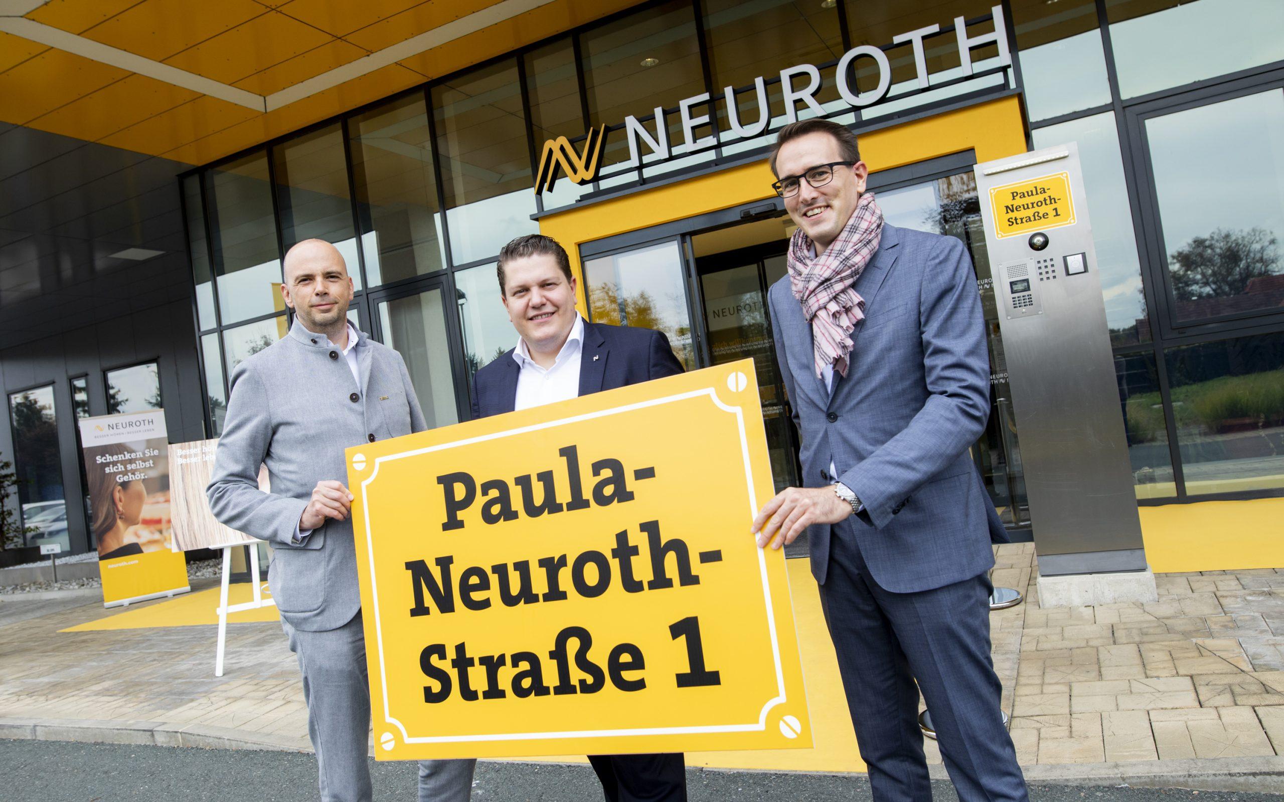 Die Neuroth-Führungsspitze vor dem neuen Supply Center in Lebring: CEO Lukas Schinko, CFO Michael Paul und COO Jürgen Seidler (v. l.)