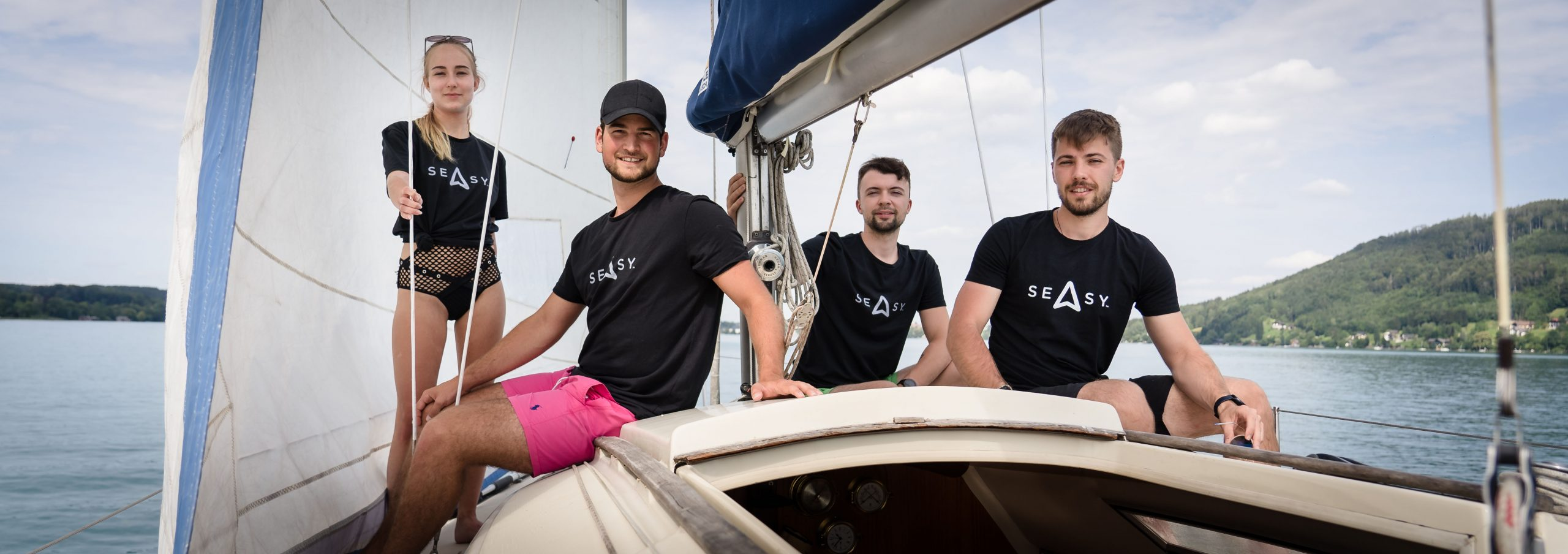 Vernetzen Segler mit Marinas: Ivana Zemanovicova, Geschäftsführer Daniel Baumgartner, Daniel Machacek und Martin Olsansky (v. l.) (Credit: Seasy)